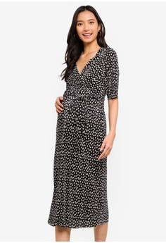 9d76311c6b Dorothy Perkins black Maternity Spot Plisse Wrap Dress E87D1AAB433893GS 1