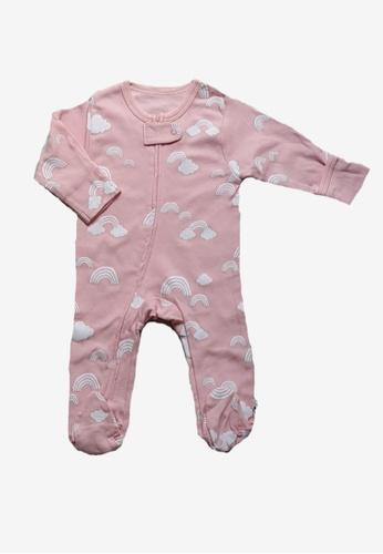 Babysoy pink Rainbow Zipper Footie 3F647KAA987E89GS_1