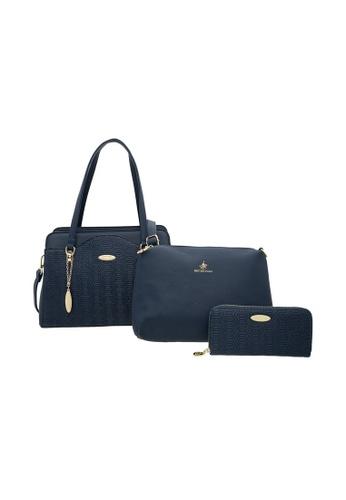 British Polo 藍色 英式保罗 特色几何暗纹 手提包,斜背包,钱包 3合1组合 4A2E0ACFB17778GS_1