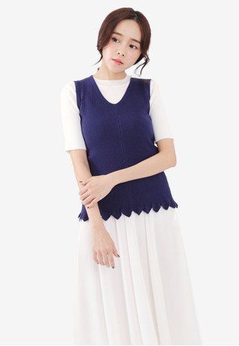 Tokichoi navy Knitted Meshed Top FB093AA3BF5799GS_1