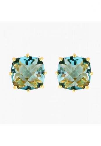 Les Néréides gold La Diamantine Acqua Azzura Square Stone Stud Earrings 17B31AC236056FGS_1