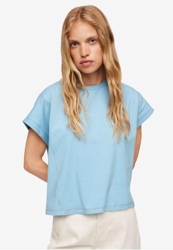 Mango blue Essential Cotton-Blend T-Shirt BFAC1AA7638B0CGS_1