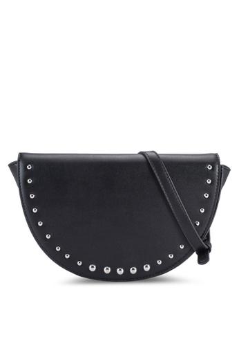 Something Borrowed black Studded Half Moon Sling Bag 1F89AACA048EBCGS_1