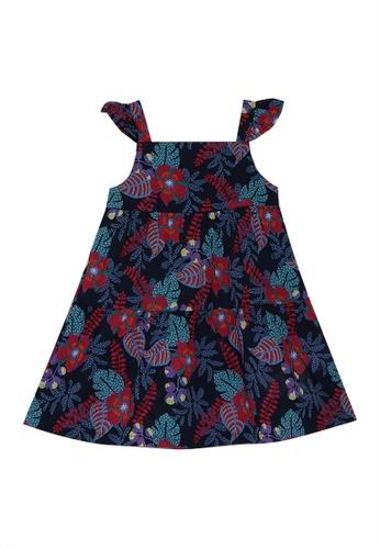 DU PAREIL AU MÊME (DPAM) blue Navy Printed Sleeveless Tiered Dress 890CFKA3868621GS_1