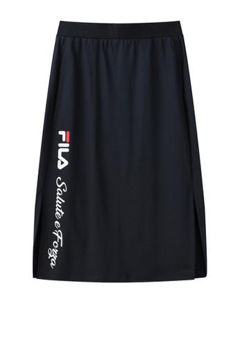 FILA navy Online Exclusive Vertical FILA Logo Side Split Cotton Skirt CC74DAA7B06EF9GS_1