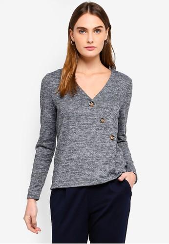 Vero Moda grey Malena Button Detail Blouse D49AFAAD5829D8GS_1