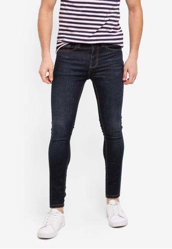 Topman blue Dark Blue Wash Spray On Jeans 1921FAA8743466GS_1