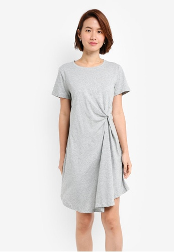 ZALORA grey Scrunched Side Tee Dress 1CAF1AA4495D92GS_1