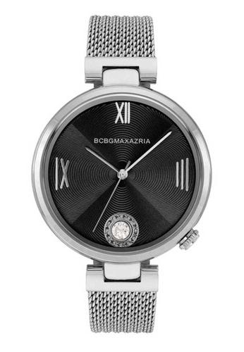 BCBG silver BCBGMAXAZRIA BG50906001 Black and Silver Stainless Steel Mesh Watch 8DA4AAC4822DDDGS_1
