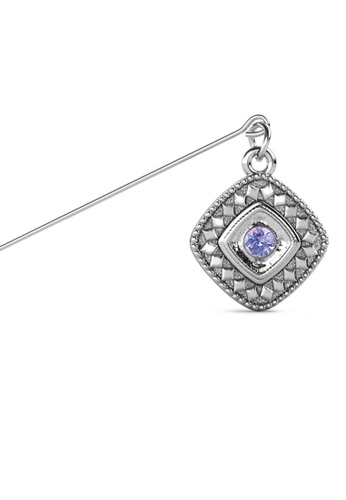 Her Jewellery purple and silver Kamya Brooch (June) - Made with premium grade crystals from Austria B985FAC24782D6GS_1