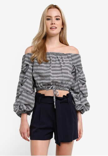 fedf0f0f60ce05 Buy Miss Selfridge Petite Checkered Bardot Blouse