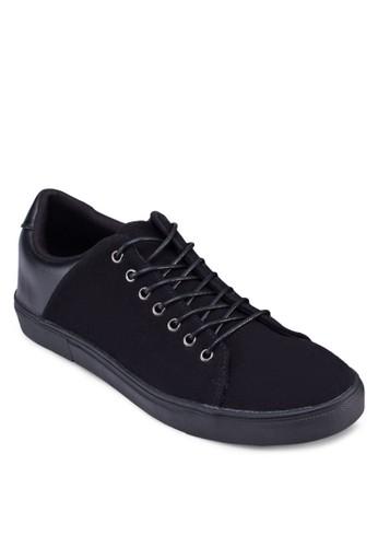 拼色繫帶仿皮zalora退貨運動鞋, 鞋, 休閒鞋