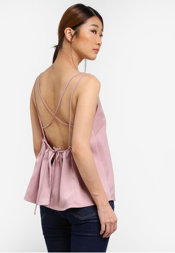 Something Borrowed pink Strappy Backless Tie Top B0488AA6A73B7EGS_1