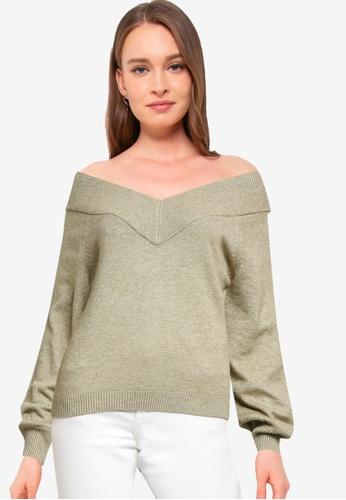 JACQUELINE DE YONG green Shanon Long Sleeve Off Shoulder Pullover C9EBDAACD07E67GS_1