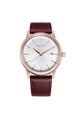Aries Gold brown Aries Gold La Oro G 9026 RG-SRG Rose Gold and Brown Leather Watch 080E9AC938860EGS_1