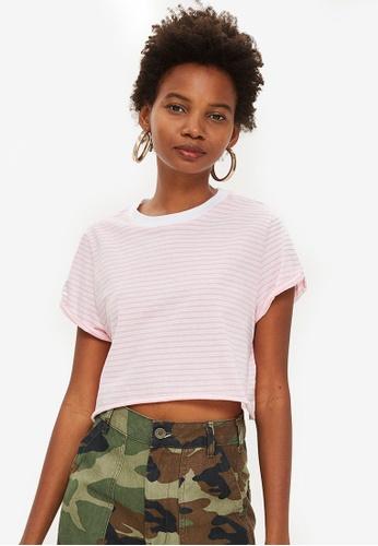TOPSHOP pink Petite Stripe Boxy T-Shirt 1B106AA43B0382GS_1