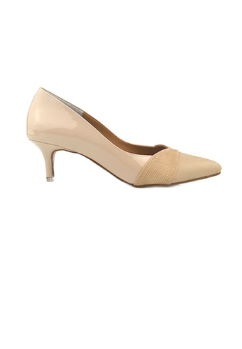 SHINE beige Paneled Pointed Heels ADDAFSHA22736DGS_1