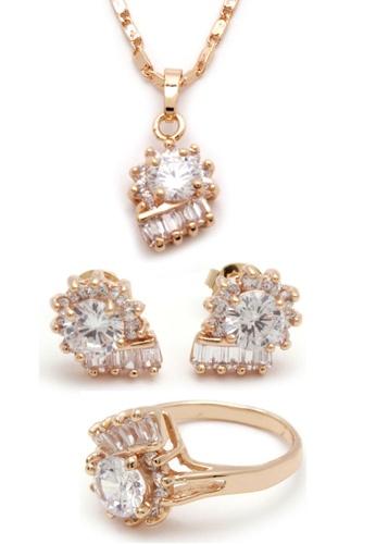 Jewelplace gold Fan  White Diamond Cubic Zirconia Diamond 4 in 1 Jewelry Set JE882AC95GHGPH_1