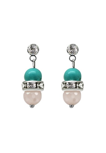 Fur Nyce green Turquoise and Rose Quartz Earrings FU779AC58JMZMY_1