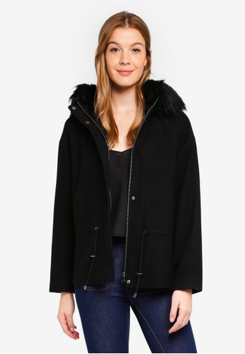 Sisley black Faux Fur Jacket 366C1AA1A6BF63GS_1