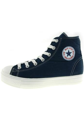 Maxstar 藍色 新款韩国鞋C1-7H時尚帆布布混合女深藍色 US Women Size MA345SH26HDTTW_1