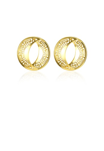Glamorousky silver Elegant Plated Gold Geometric Round Cutout Earrings 73130AC2ECA192GS_1