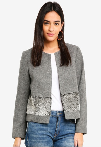 ESPRIT grey Faux Fur Patch Jacket 009B5AAA4D8172GS_1