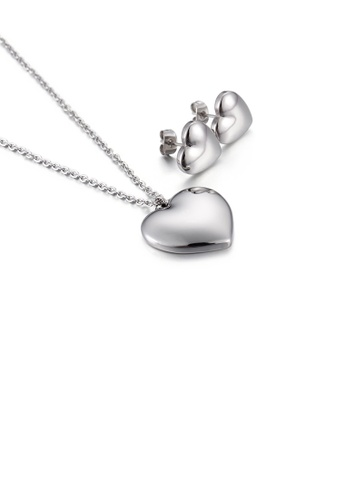 Glamorousky silver Fashion Simple Heart Shaped 316L Stainless Steel Necklace and Stud Earring Set 45C8FACEA122C7GS_1