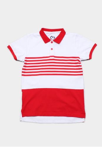 Mini Moley red Striped Colour Block Boy's Polo T-Shirt 48EBCKA4351FC1GS_1