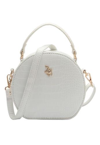 Swiss Polo white Croc Top Handle Sling Bag 23EB1AC9D9B3ADGS_1