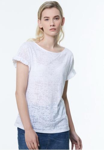 Sisley white Printed T-shirt 68E50AAAA5C001GS_1