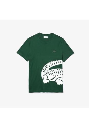 Lacoste green Lacoste Men's Oversized Crocodile Print Crew Neck T-shirt 9B737AA1AE740AGS_1