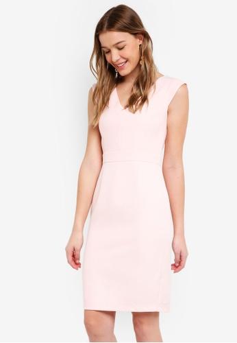 Dorothy Perkins pink V Neck Pencil Dress 9736AAAF68F990GS_1