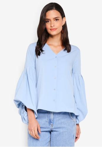 Lubna blue Hi Lo Puff Sleeve Top 585ACAAC2BBB59GS_1