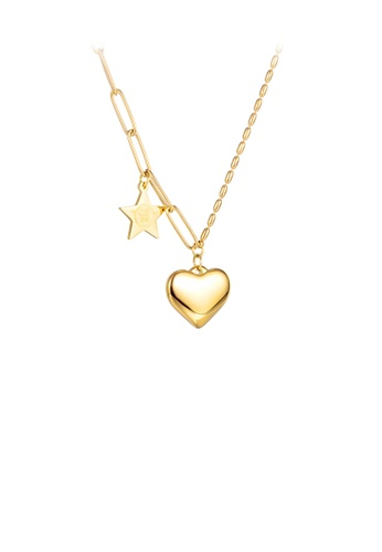 Glamorousky silver Simple and Fashion Plated Gold Heart-shaped Star 316L Stainless Steel Pendant with Necklace 49E70AC2243E54GS_1