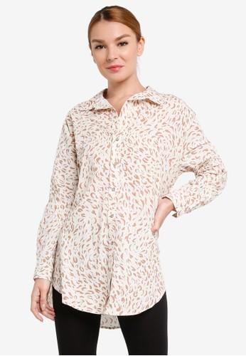 Cotton On Body brown Oversized Beach Shirt 3685FAAA13CF7AGS_1