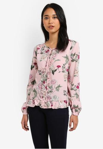 ONLY pink Paris Long Sleeve Frill Woven Top B8895AA2C640DAGS_1