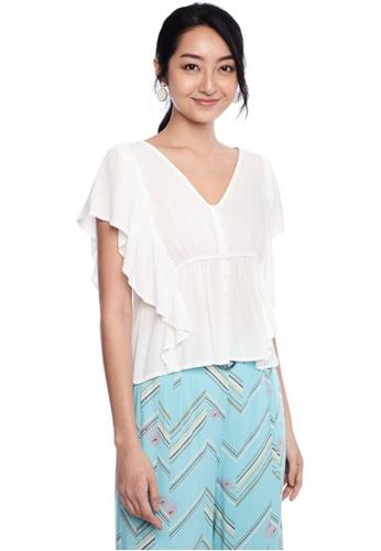 Nichii white Cinched Waist Buttoned Crop Top 8F4C8AA3A1BD3DGS_1
