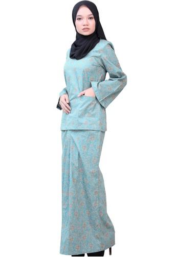 Kurung Kedah (AEKK02 Blue Turqoise/ Peach) from ANNIS EXCLUSIVE in Blue