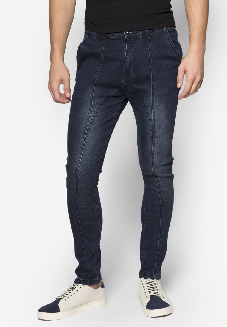 Curved Leg Raw Denim Jeans