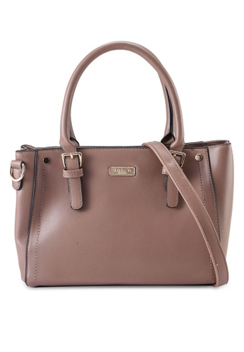 Unisa brown Faux Leather Convertible Top Hand Bag 556A7AC1E32D21GS_1
