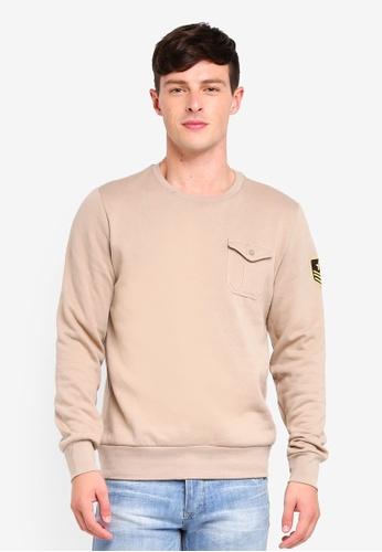 Brave Soul beige Crew Neck Sweatshirt 20A99AA21C108EGS_1