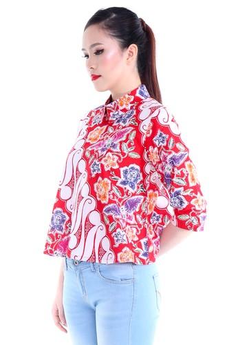 DhieVine Batik red and multi Lakshita Papilon Merah Blouse Batik 451BBAAD35BB6CGS_1