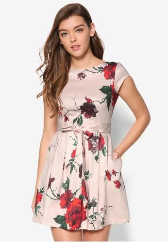 前繫帶花esprit台灣卉蓋袖洋裝, 服飾, 洋裝
