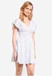ZALORA white Fit & Flare Ruffle Sleeve Dress 8A3D6AA789E1EBGS_1