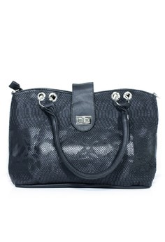Croc Leather Buckle Tote Bag