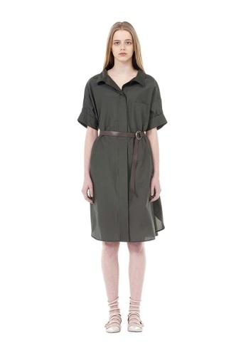 VOV(Voice of Voices) green Green O-Ring Belted Tunic Dress 01754AAFF6C1FFGS_1