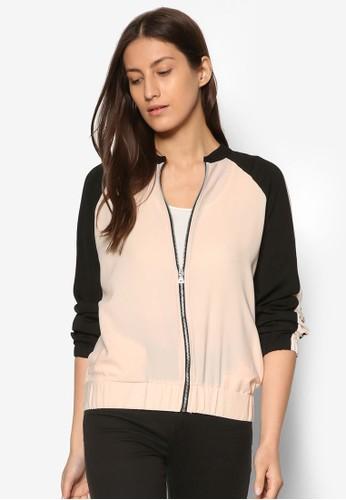 拼zalora時尚購物網的koumi koumi色拉鍊棒球外套, 服飾, 棒球外套