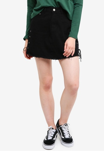 Something Borrowed black Lace Up Denim Mini Skirt 63413AA206B15AGS_1