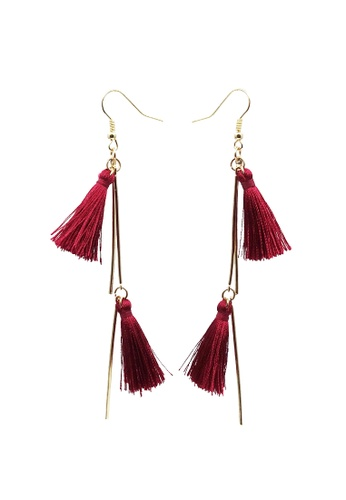 LUCCACAL red Double Tassel Drop Earrings D68E6AC5969743GS_1
